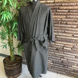 Men's Vintage Checkered Plaid Wool Robe